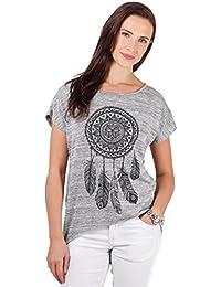 KRISP Damen Tshirt mit Aufdruck Traumfänger Elegantes Top Sommer Oberteil Shirt