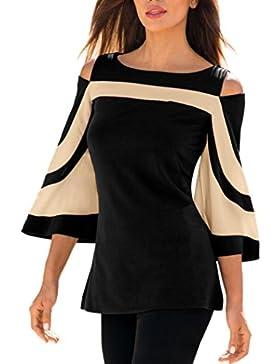 ABCone Donna Pullover Felpa Neck T-Shirt Maniche Lunghe Elegante Autunno Camicette Camicie Casual Tops