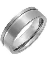 Theia Unisex-Ring Titan Flach Court Seite gerillt 7mm