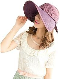 Autek capeline Chapeau soleil chapeau d'été femme pliable avec grande visère