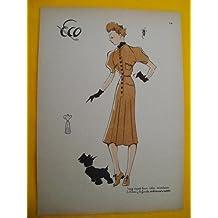Antigua lámina de moda años 30 Figurín - Old 30's fashion plate :Traje esport lana color mostaza, botones y bufanda verde oscuro o marrón. ECO Nº14
