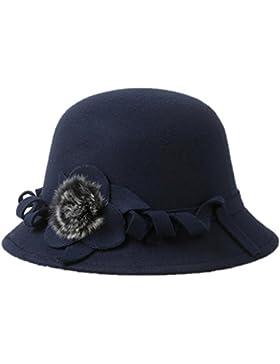 Aikesi Sombrero de hincha de lana de color sólido floral retro para mujer(Azul oscuro)