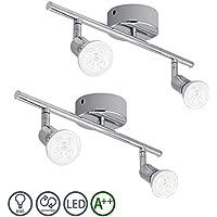 Barras de focos 2 unidades de gu10 4w lámpara de techo ajustable para sala -bar Fácil de montar IP44 [Clase de eficiencia energética A++]