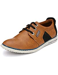 Peponi Men's Faux Leather Tan Stylish Best Quality Casual Men's Faux Leather Shoes