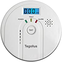 Tegollus Carbon Monoxide Detector CO Alarm and Alarm with Digital Display Electrochemical CO Sensor,Digital Display,Voice Warning and Battery Backup