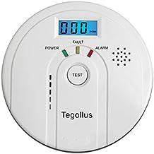 Tegollus Carbon Monoxide Detector CO Alarm and Alarm with Digital Display Electrochemical CO Sensor,Digital Display,Voice Warning and Battery Backup