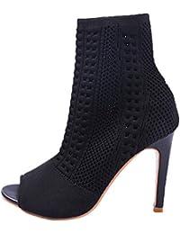 9c6995a85b833 Chaussures Femmes,Sonnena Bottes Femmes Talons Hauts Mode Rock Rivets  Décoration Lacets Bottes Motard Cuir