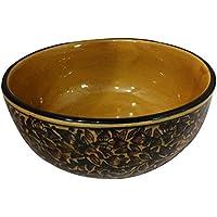 Hecho a mano decorado khurja Pottery de cerámica multiusos cuencos de almacenamiento y uso para servir aperitivos, frutas y tuerca de servir, servir de postre servir y almacenamiento Set de qty-1