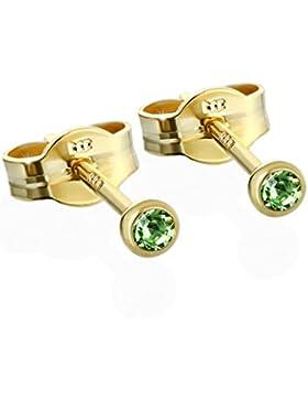 NKlaus Paar Ohrstecker Gold 333er 2,50mm hellgrün Zirkonia Damen Herren Kinder 6590