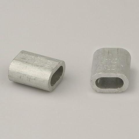 200pezzi alluminio Press morsetto per fune 1,5mm (0,05& # x20AC;/Pezzi) Press–Boccole distanziatrici morsetto in alluminio morsetti a vite per fune
