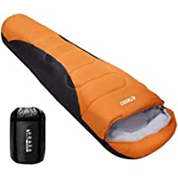 ENKEEO Warm Mummy Sleeping Bag for Adults Lightweight and Compact Breathable Hollow Cotton for Backpacking Hiking Camping 3-4 Season, with Carrying Bag, Stash Pocket, Hood and Footbox