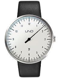 Botta-Design UNO+ ALPIN - Reloj de pulsera automático, acero inoxidable, esfera blanca, correa de piel
