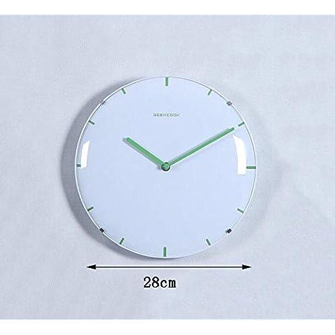 Global- 28 centimetri di diametro moderna orologio elettronico al quarzo Orologio rotondo Mute Orologi, Ristorante Salone Pendente artigianato decorazione domestica ( colore : Verde ) - Verde Del Pendente Del Quarzo