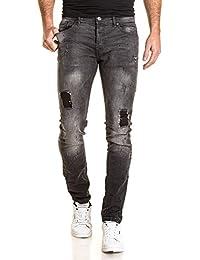 Gov Denim - Jeans homme gris foncé délavé fashion troué avec pièces