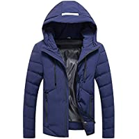 Yvelands Mens Winter Warm Hoodie con Capucha Zip Slim Chaqueta Outwear Manga Larga Viento Abrigo