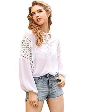 Simple vestido de manga larga de las mujeres de cuello en V gasa Top de encaje blusa camisa suelta