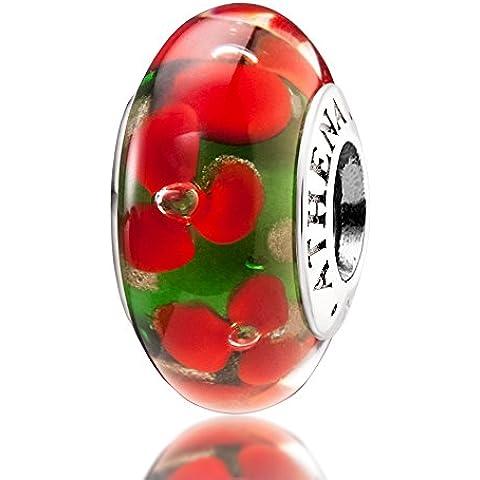 ATHENAIE vetro di Murano argento 925core tropicale fiori perline per tutti i braccialetti europei, colore: