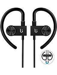Auriculares Bluetooth con CSR Chip hobotek HD estéreo inalámbrico magnético auriculares auriculares con micrófono a prueba de sudor auriculares con cancelación de ruido para deportes al aire libre Correr Ejercicio
