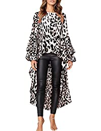 Lenfesh Pullovers Tops Casual Camisetas de Volantes para Mujer Camisas Oficina de Moda Leopardo Blusa Asimetrica