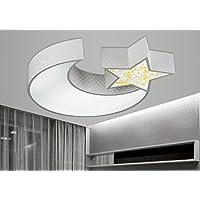 LYXG Luces LED lámpara de techo de niños y niñas Luna estrellas dormitorio estudio creativo luz niños arte luz de lámparas de hierro (550mm*70mm), White box con luz blanca