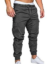 e63dc896c54 ZOEREA Pantalon Homme Casual Cargo Slim Fit Pantalons Jogging Sport Multi  Poches Ceinture élastique Long Pants