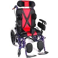 QETU con Respaldo Alto Silla de Ruedas reclinable - reposabrazos Ajustable y Pedales - Adecuado para niños con.