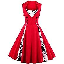 vkstar® Vintage 50para vestido de noche elegante con botones Rockabilly Swing vestido de cóctel