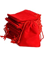 DMS RETAIL Velvet Drawstring Pouch Bag (Red, 5X5 cm) - Pack of 5