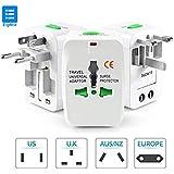 Eightiz® Universal Travel Adapter/Travel Power Plug Adapter, EU/AU/UK/US/CN/JP/HK Euro Surge Protector (White)