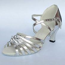 XINJING-SLas mujeres Zapatos de Baile latino/Salón tacon charol rojo,1 1/2 pulgadas (4cm) de espesor talón, plataLas mujeres Zapatos de Baile latino/Salón tacon charol rojo,1 1/2 pulgadas (4cm) de espesor talón, plata