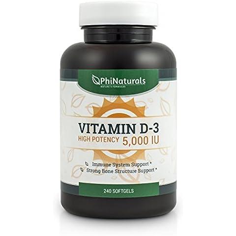 Vitamina D3 Cápsulas de 5000 UI. 240 cápsulas de Vitamina D de Alta Potencia (5000 UI) en aceite de oliva extra virgen para mayor
