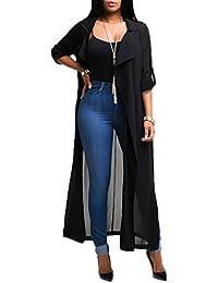 Smile YKK Cardigan Femme Mousseline de Soie Manteau Long Veste Ouverte Manches Longues Mode