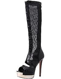 MissSaSa Damen high heel Peep toe Plateau Sommerstiefel mit Reißverschluss (Schwarz)