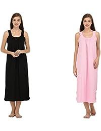 Ishita Fashions Cotton Gown Slip - Cotton Nighty - 2 PCs - Black and Baby Pink