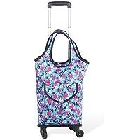 tragend ungefähr 25KG Color : Colorful, Size : 36 * 17 * 100cm faltender tragbarer Einkaufstasche-Reisekoffer-Laufkatzen-Einkaufswagen-älterer Einkaufswagen Einkaufstasche