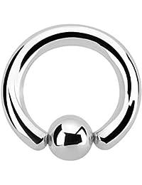 Grande de anillo con bola Piercing–48tamaños (2, 3, 4, 5, 6.5mm Grosor)–BCR (Ball Closure Ring)–Anillo piercings en plata de acero quirúrgico (Acero Inoxidable) Talla:[43.] - 6.5 x 14 mm (Kugel: 10mm)