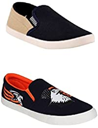 STYLIVO Combo Pack Of Casual Beige & Orange Print Loafers For Men's
