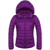 WJP Mujeres Ultra Lightweight búfer Stop Desmontable Down Jacket Outwear edredón W 2471, Lila, S