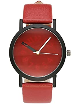 JSDDE Minimalistische Armbanduhr Zeitloses Design Schwarz Gehäuser Analog Quarzuhr Lederband Wasserdicht Kleid...