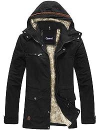 Zicac- Manteau homme zippé à capuche doublure en laine pour l`hiver