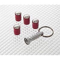 Richbrook - Tappi antipolvere e antifurto per valvole dei pneumatici, colore: rosso