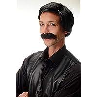 WIG ME UP ® - 4129-P103 Peluca y Bigote Negro Carnaval Halloween Caballero Gangster