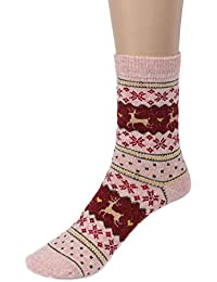Calcetines Deer De Navidad, LILICAT Calcetines Lindo Invierno de Lana de Punto Caliente Unisex (Rosado)