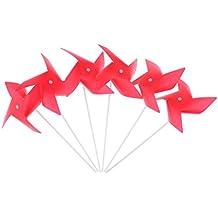 MagiDeal 100 Piezas 3D DIY Molino de Viento Portable de Flor Juguete al Aire Libre de Cabrito Decoración de Jardín - Rojo