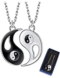 Yying yang necklace, friendship necklaces, kitteny jewellery puzzle pendant in yin yang design for boys, girls, best friends, lovers and couples, 2 alloy necklaces, gifts