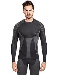 Spaio Merino Camiseta de hombre de mangas largas, negro/gris, L
