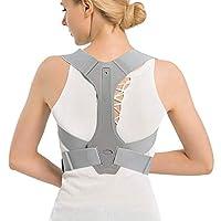 Conbo Back braces Posture Corrector Adjustable Back Shoulder Spinal Support Belts for Men Women, Physical Therapy Brace for Upper Lower Back, Posture Trainer Help Neck Shoulder Pain Relief (grey M)