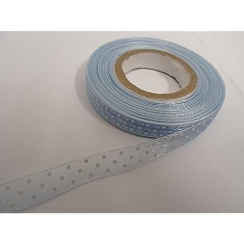 1 rotolo di nastro, 10 mm x 20 m, colore nastro in Organza a effetto seta, colore: azzurro con motivo a pois, colore: bianco a