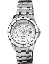 Design Christina London Energie Women'Quarz-Uhr mit weißem Zifferblatt Analog-Anzeige und Silber-Edelstahl-Armband 149SW