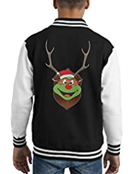 TMNT Michelangelo Christmas Antler Head Kid's Varsity Jacket